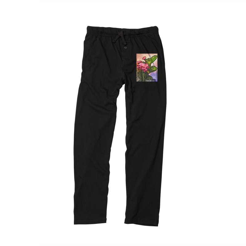 The Embrace of the Pink Flowers and the Green Leaves Men's Lounge Pants by jackievano's Artist Shop