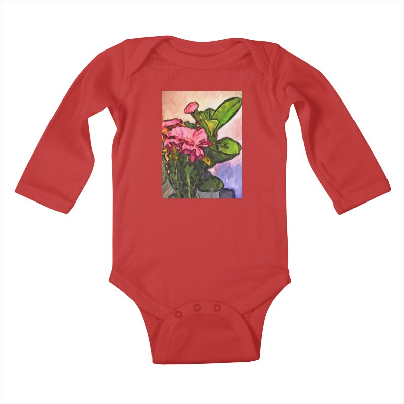 The Embrace of the Pink Flowers and the Green Leaves Kids Baby Longsleeve Bodysuit by jackievano's Artist Shop