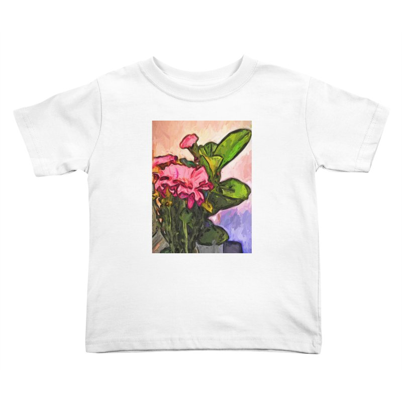 The Embrace of the Pink Flowers and the Green Leaves Kids Toddler T-Shirt by jackievano's Artist Shop