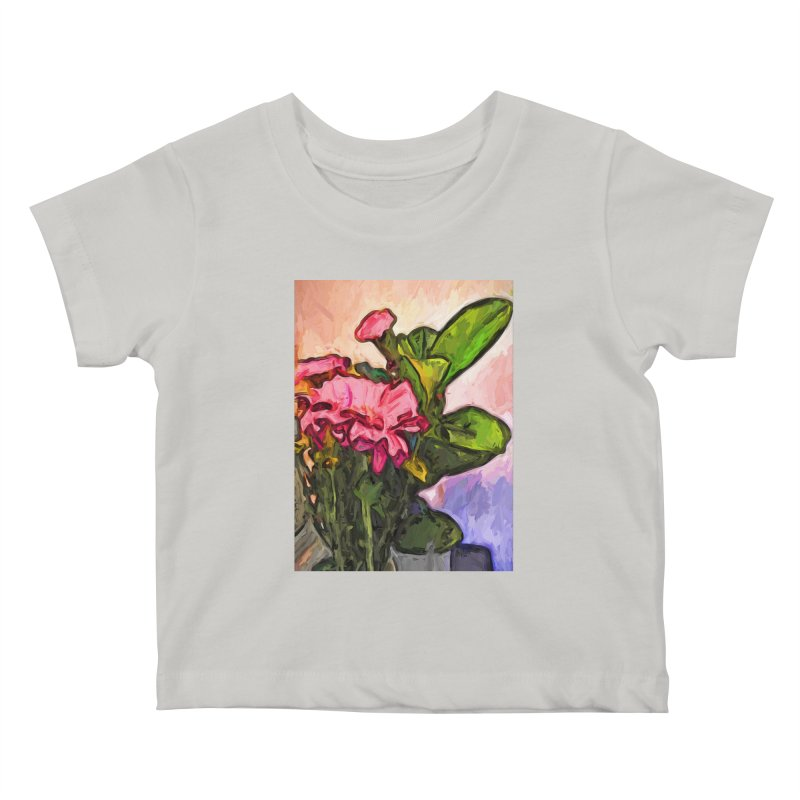 The Embrace of the Pink Flowers and the Green Leaves Kids Baby T-Shirt by jackievano's Artist Shop