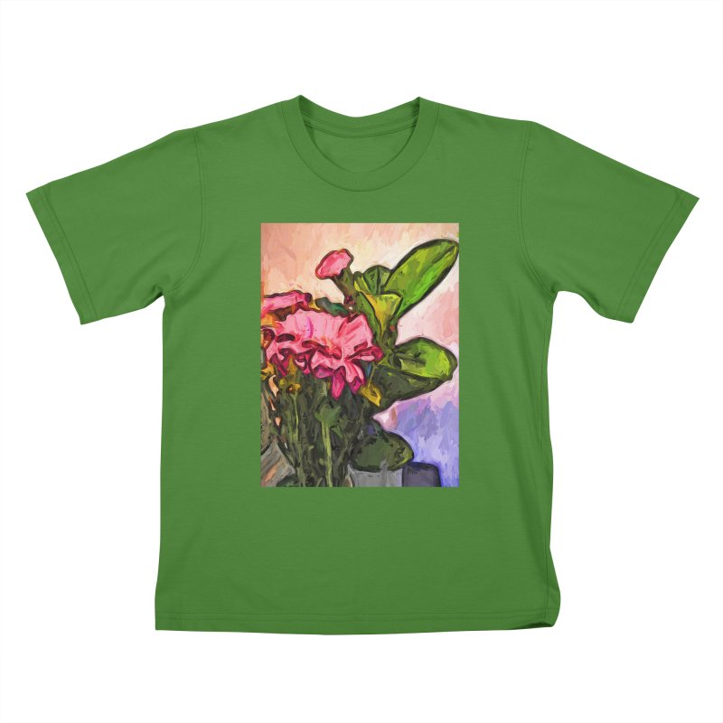 The Embrace of the Pink Flowers and the Green Leaves Kids T-Shirt by jackievano's Artist Shop