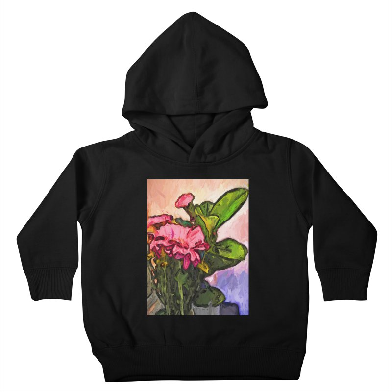 The Embrace of the Pink Flowers and the Green Leaves Kids Toddler Pullover Hoody by jackievano's Artist Shop
