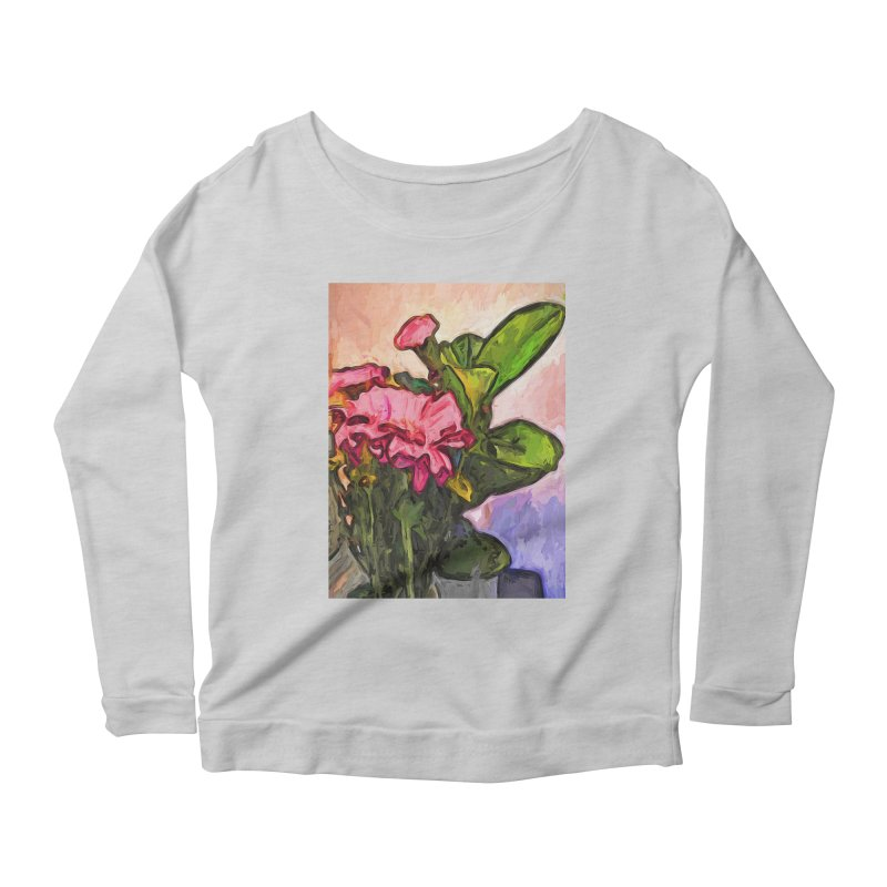 The Embrace of the Pink Flowers and the Green Leaves Women's Longsleeve Scoopneck  by jackievano's Artist Shop