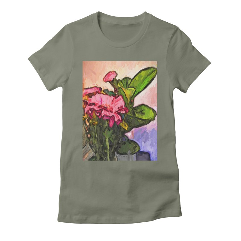 The Embrace of the Pink Flowers and the Green Leaves Women's Fitted T-Shirt by jackievano's Artist Shop