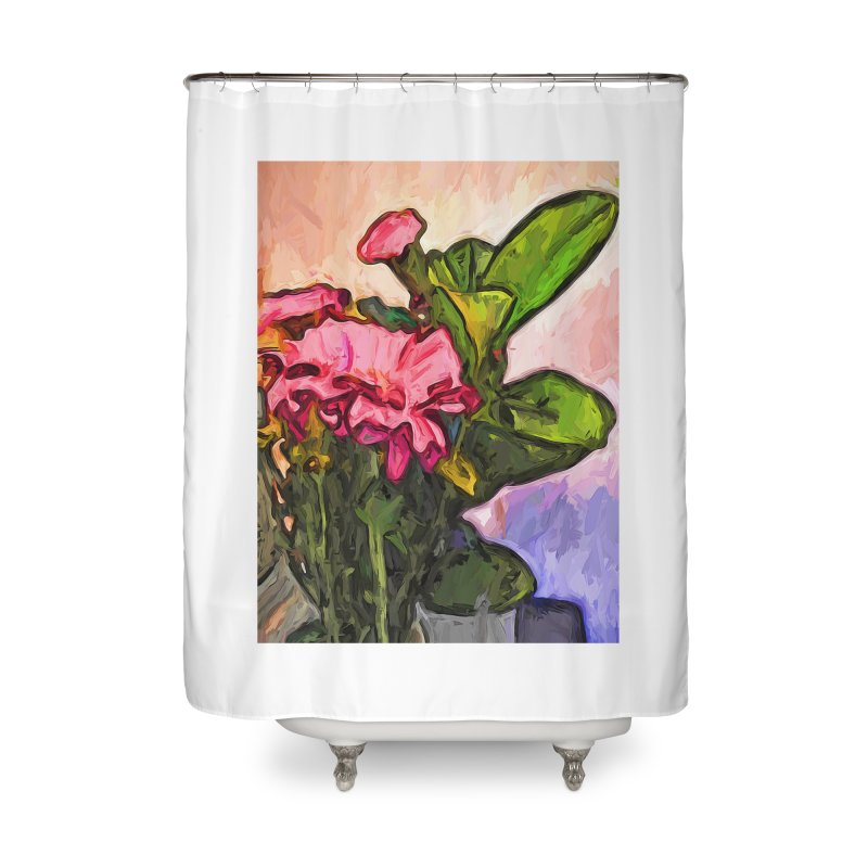 The Embrace of the Pink Flowers and the Green Leaves Home Shower Curtain by jackievano's Artist Shop