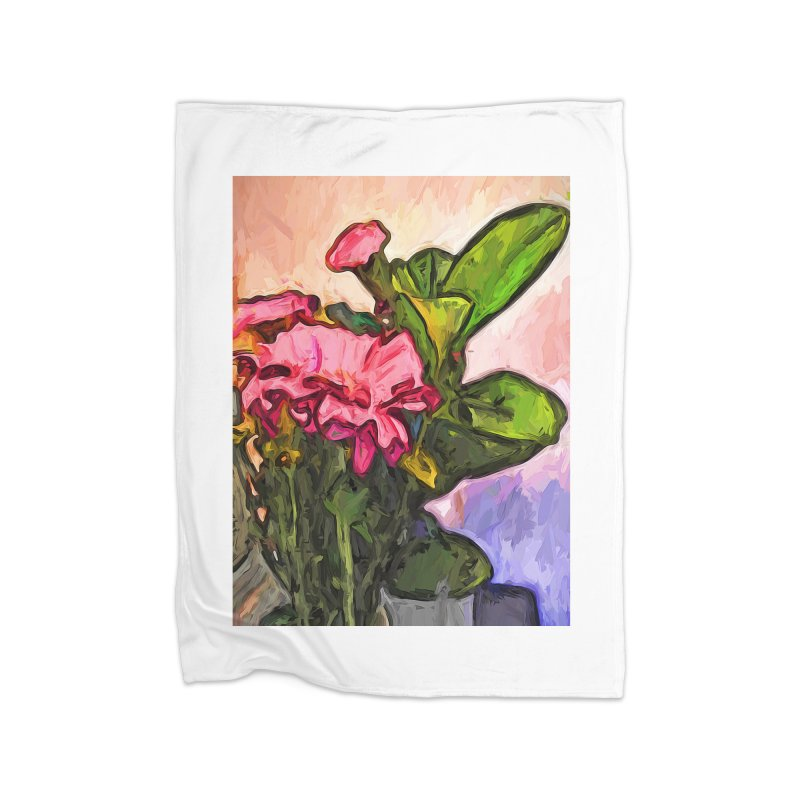 The Embrace of the Pink Flowers and the Green Leaves Home Blanket by jackievano's Artist Shop