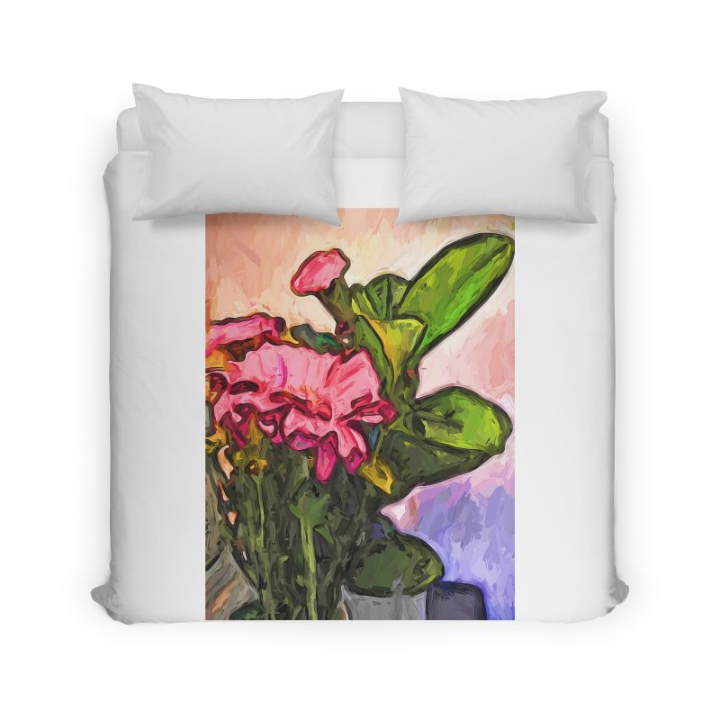The Embrace of the Pink Flowers and the Green Leaves Home Duvet by jackievano's Artist Shop