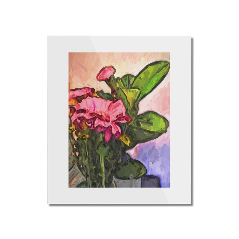 The Embrace of the Pink Flowers and the Green Leaves Home Mounted Acrylic Print by jackievano's Artist Shop