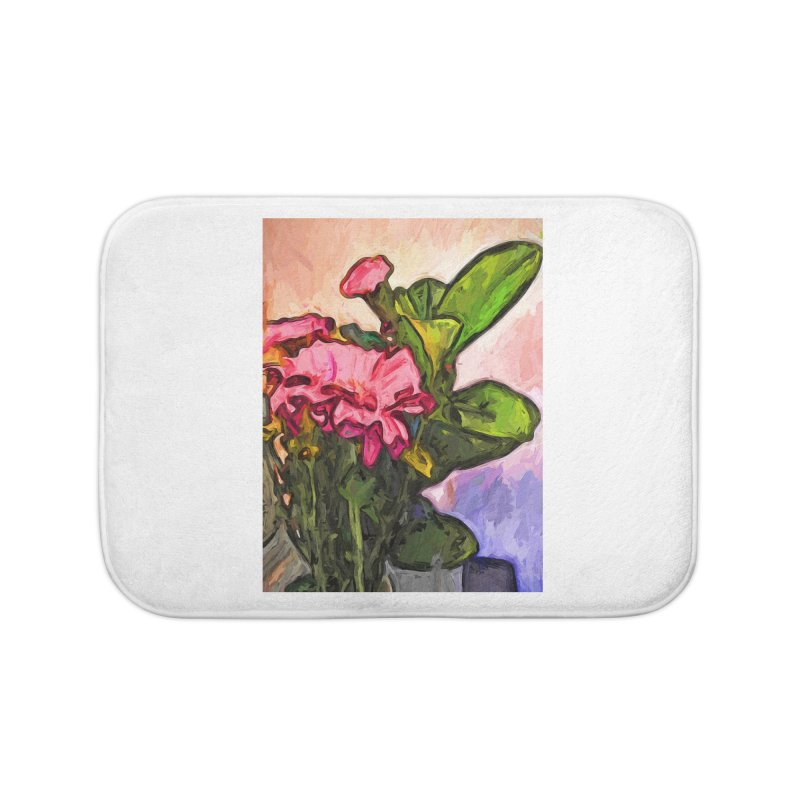 The Embrace of the Pink Flowers and the Green Leaves Home Bath Mat by jackievano's Artist Shop