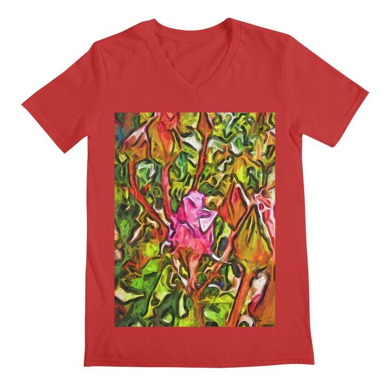 The Radiant Love of the Pink Rosebud Men's V-Neck by jackievano's Artist Shop