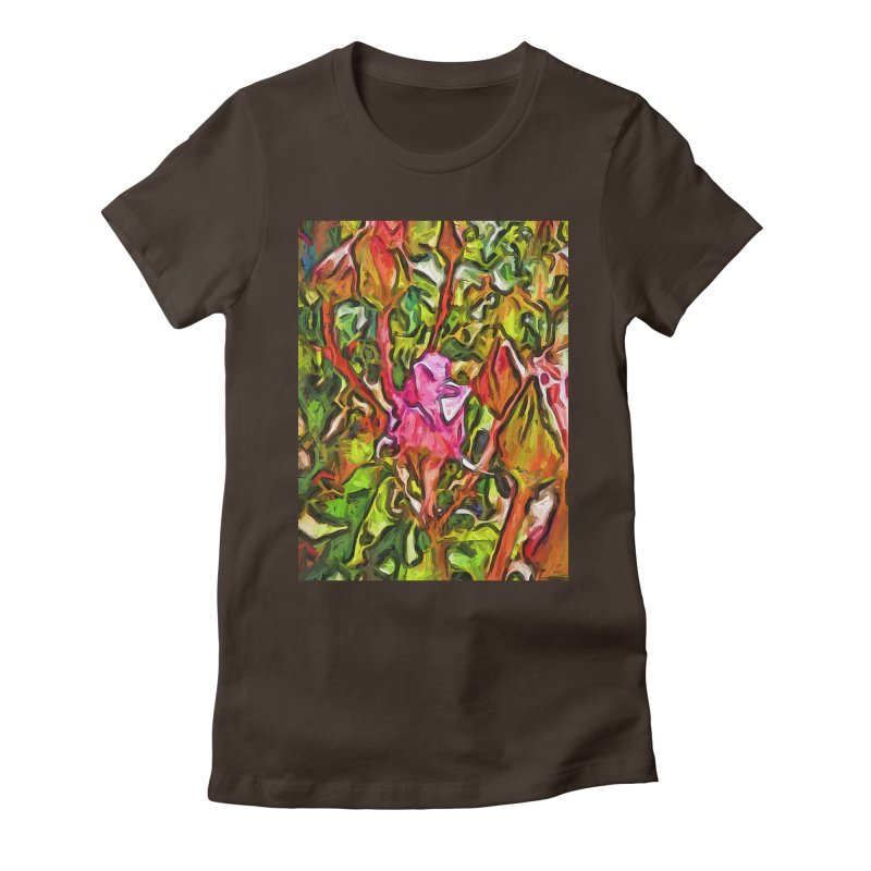 The Radiant Love of the Pink Rosebud Women's Fitted T-Shirt by jackievano's Artist Shop