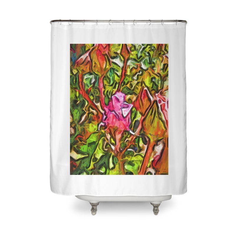 The Radiant Love of the Pink Rosebud Home Shower Curtain by jackievano's Artist Shop