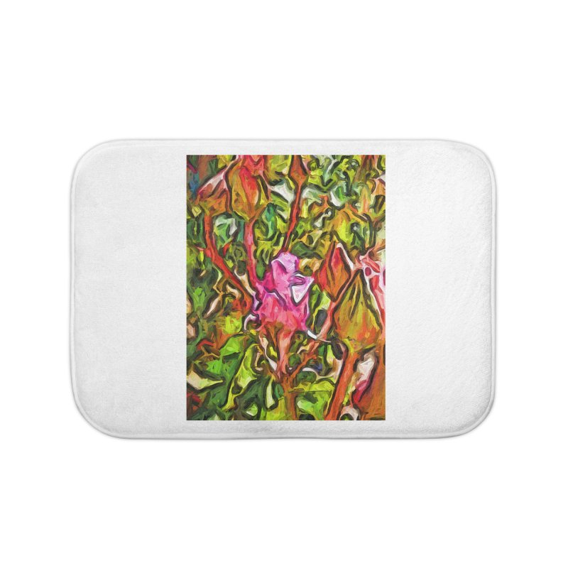 The Radiant Love of the Pink Rosebud Home Bath Mat by jackievano's Artist Shop