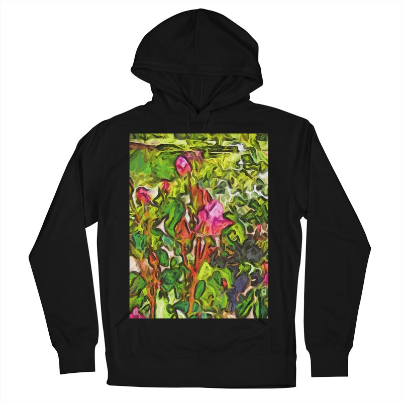 The Pink Rosebud in the Sea of Green Leaves Women's Pullover Hoody by jackievano's Artist Shop