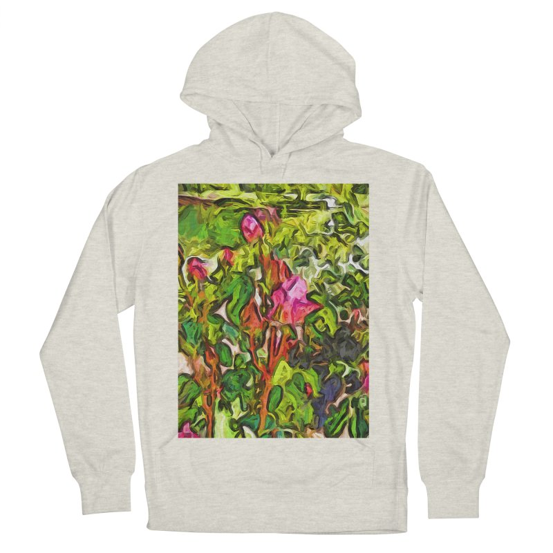 The Pink Rosebud in the Sea of Green Leaves Men's Pullover Hoody by jackievano's Artist Shop
