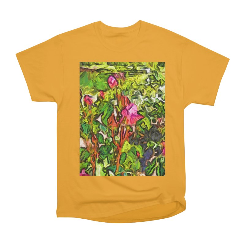The Pink Rosebud in the Sea of Green Leaves Women's Heavyweight Unisex T-Shirt by jackievano's Artist Shop