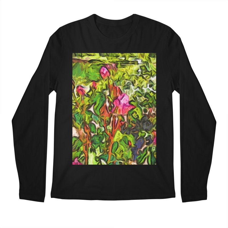 The Pink Rosebud in the Sea of Green Leaves Men's Longsleeve T-Shirt by jackievano's Artist Shop