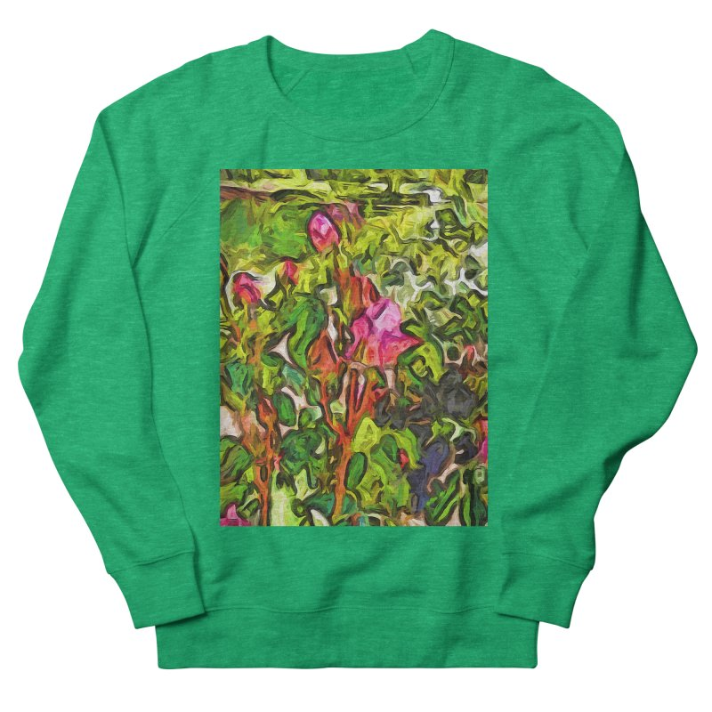 The Pink Rosebud in the Sea of Green Leaves Women's Sweatshirt by jackievano's Artist Shop
