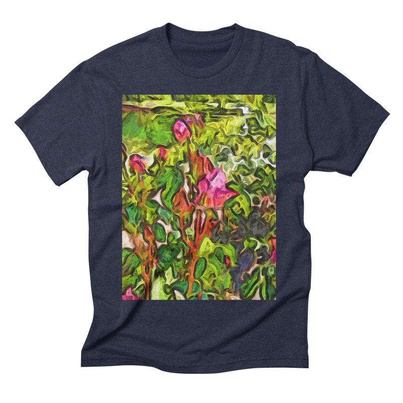 The Pink Rosebud in the Sea of Green Leaves Men's Triblend T-Shirt by jackievano's Artist Shop