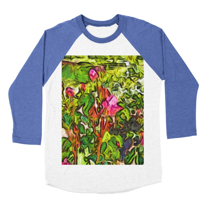 The Pink Rosebud in the Sea of Green Leaves Women's Baseball Triblend T-Shirt by jackievano's Artist Shop