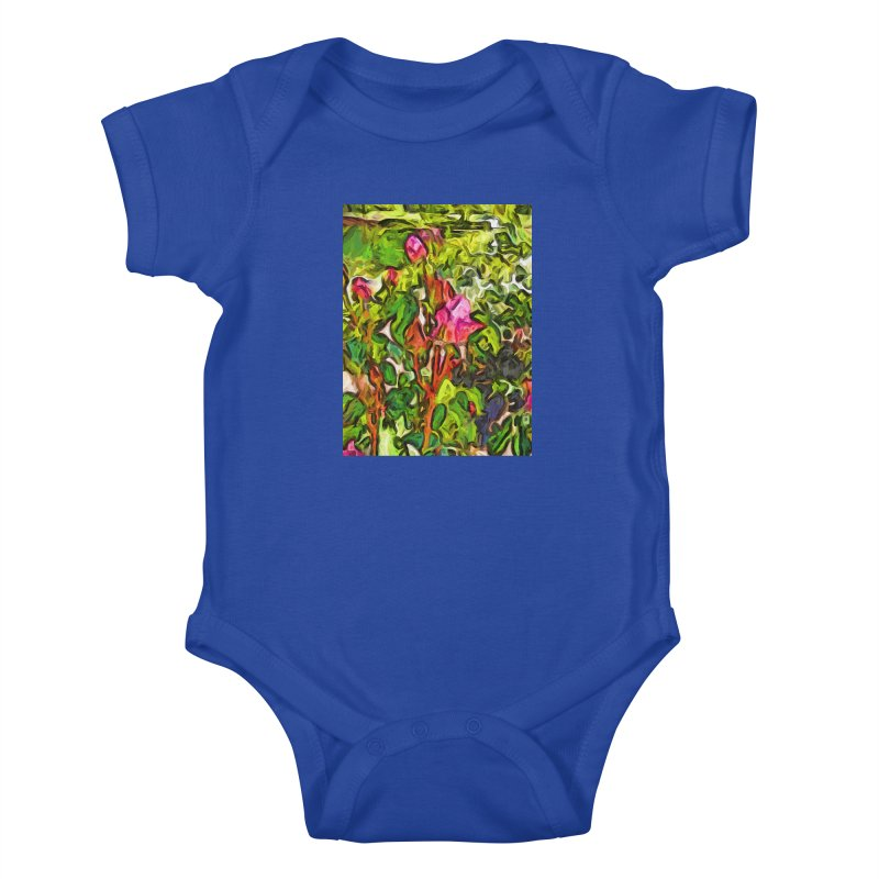 The Pink Rosebud in the Sea of Green Leaves Kids Baby Bodysuit by jackievano's Artist Shop