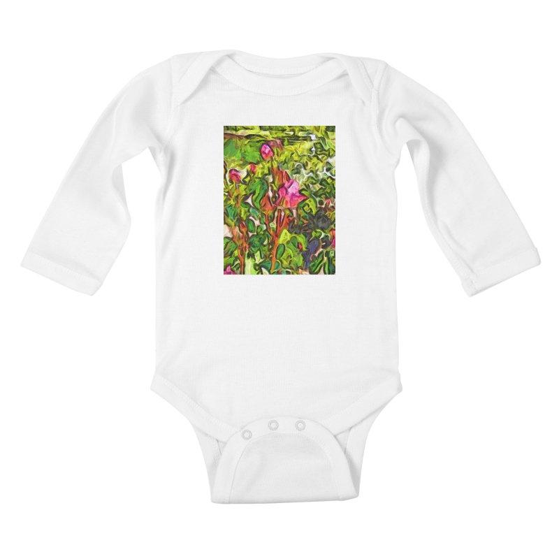 The Pink Rosebud in the Sea of Green Leaves Kids Baby Longsleeve Bodysuit by jackievano's Artist Shop