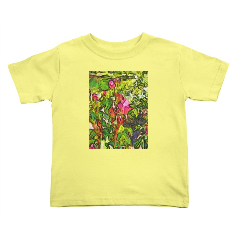The Pink Rosebud in the Sea of Green Leaves Kids Toddler T-Shirt by jackievano's Artist Shop