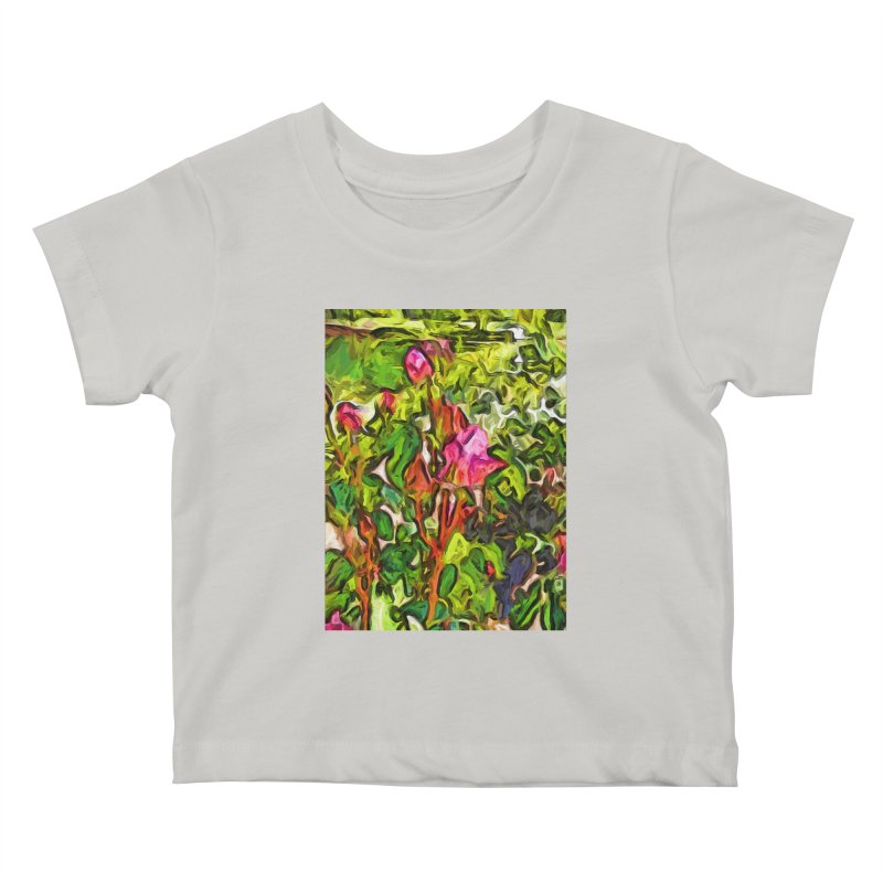 The Pink Rosebud in the Sea of Green Leaves Kids Baby T-Shirt by jackievano's Artist Shop