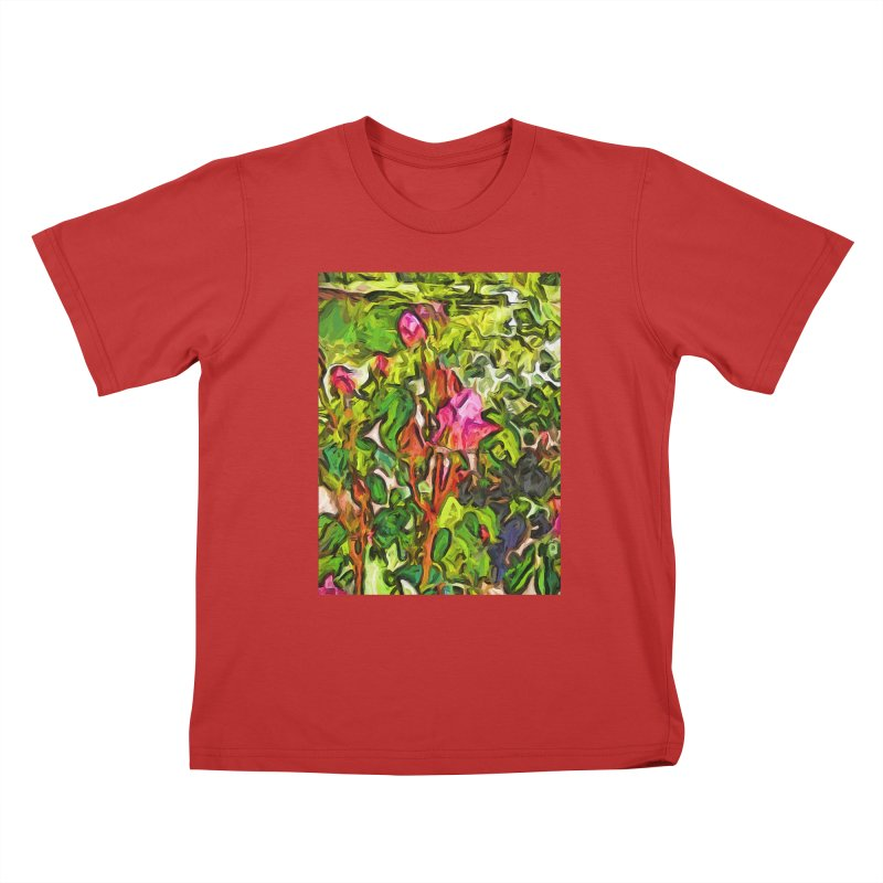 The Pink Rosebud in the Sea of Green Leaves Kids T-Shirt by jackievano's Artist Shop