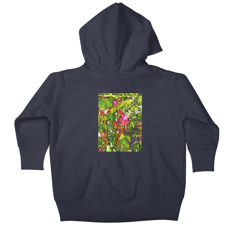 The Pink Rosebud in the Sea of Green Leaves Kids Baby Zip-Up Hoody by jackievano's Artist Shop