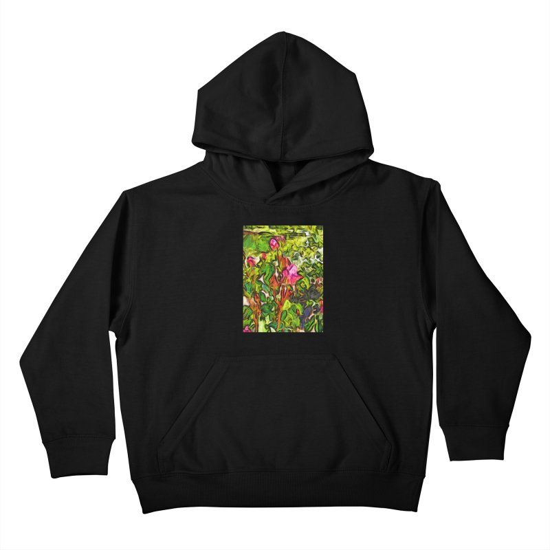 The Pink Rosebud in the Sea of Green Leaves Kids Pullover Hoody by jackievano's Artist Shop