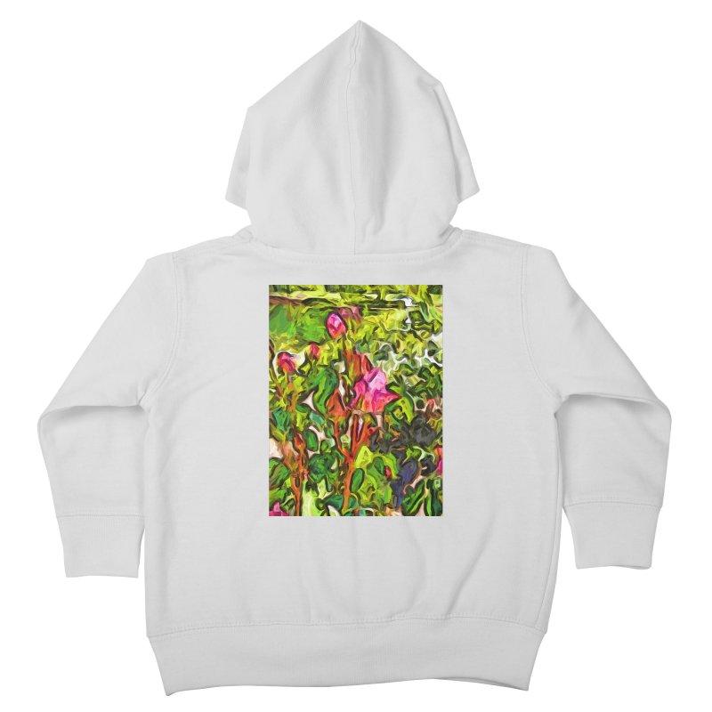 The Pink Rosebud in the Sea of Green Leaves Kids Toddler Zip-Up Hoody by jackievano's Artist Shop