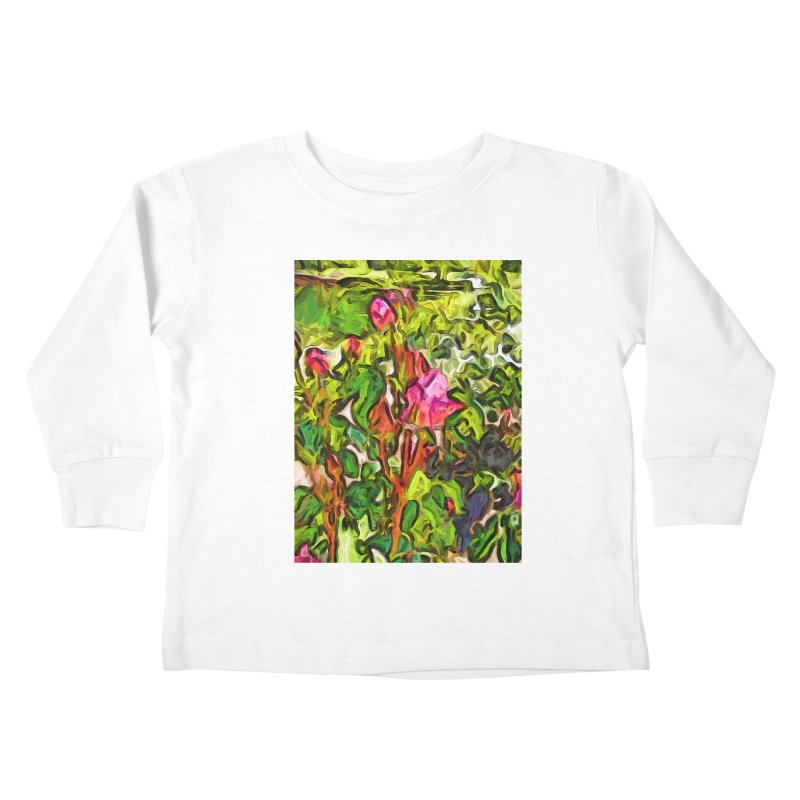 The Pink Rosebud in the Sea of Green Leaves Kids Toddler Longsleeve T-Shirt by jackievano's Artist Shop