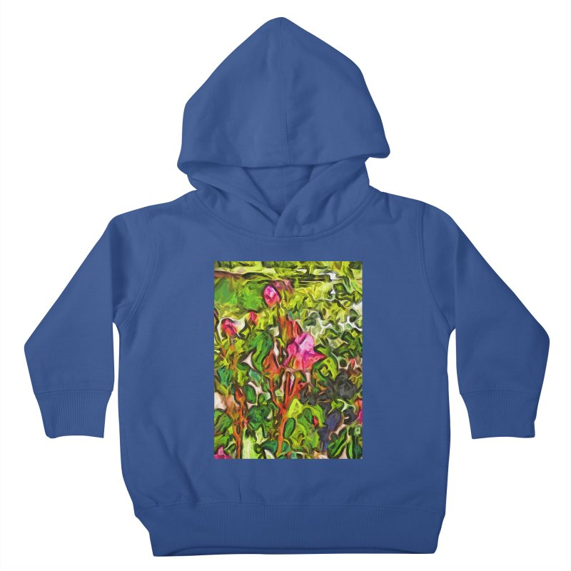 The Pink Rosebud in the Sea of Green Leaves Kids Toddler Pullover Hoody by jackievano's Artist Shop