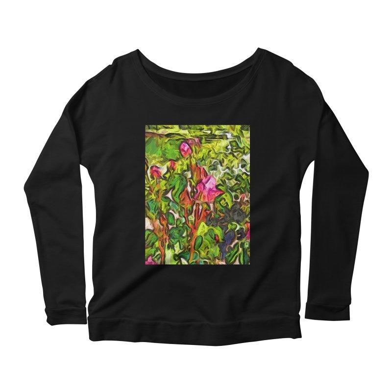The Pink Rosebud in the Sea of Green Leaves Women's Longsleeve Scoopneck  by jackievano's Artist Shop