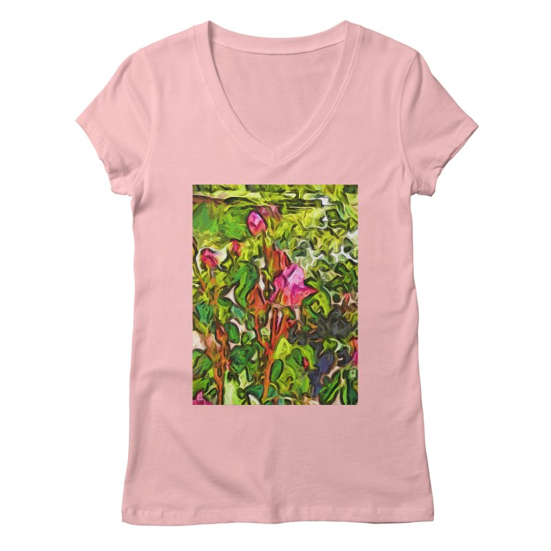 The Pink Rosebud in the Sea of Green Leaves Women's V-Neck by jackievano's Artist Shop