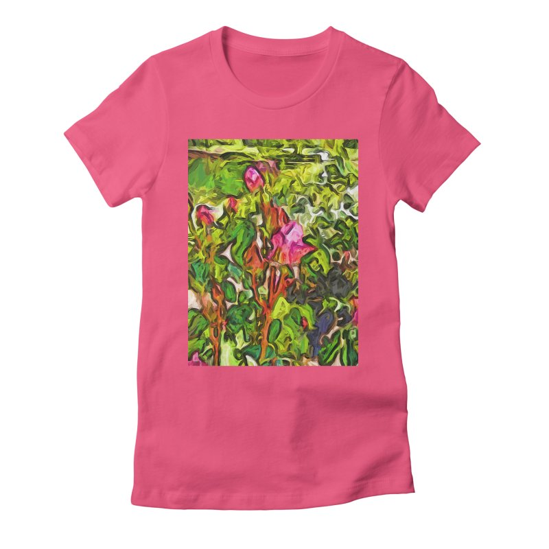 The Pink Rosebud in the Sea of Green Leaves Women's Fitted T-Shirt by jackievano's Artist Shop