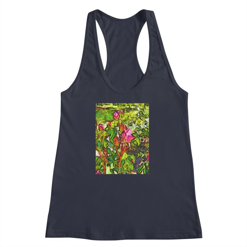 The Pink Rosebud in the Sea of Green Leaves Women's Racerback Tank by jackievano's Artist Shop