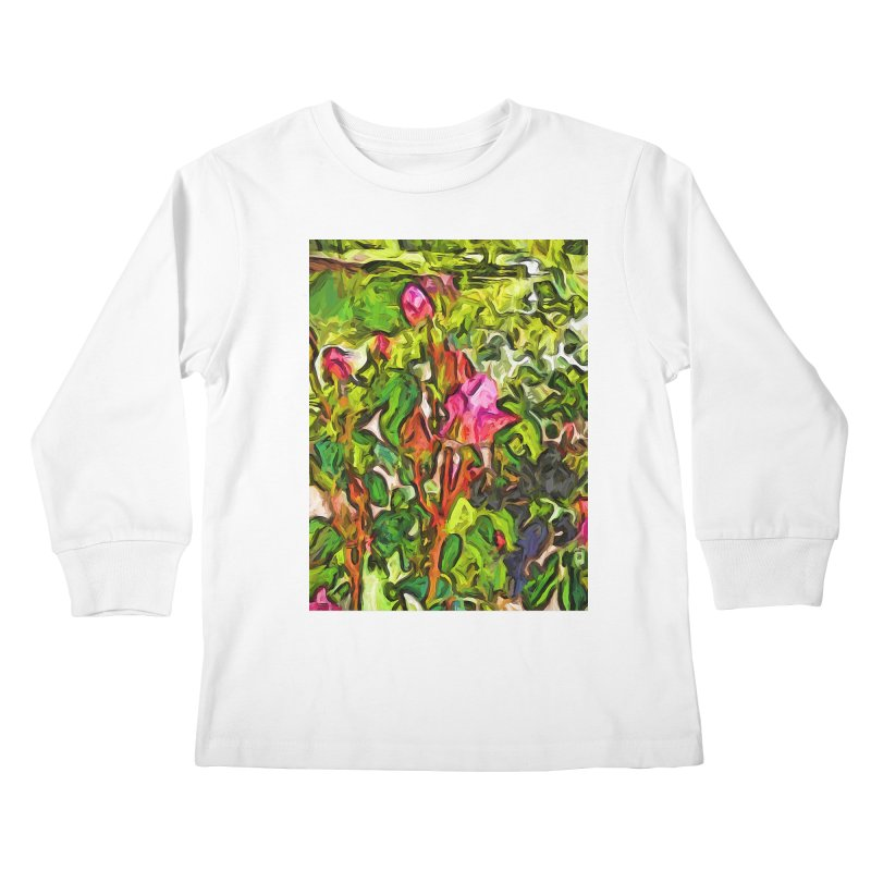 The Pink Rosebud in the Sea of Green Leaves Kids Longsleeve T-Shirt by jackievano's Artist Shop