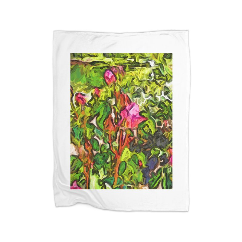 The Pink Rosebud in the Sea of Green Leaves Home Blanket by jackievano's Artist Shop
