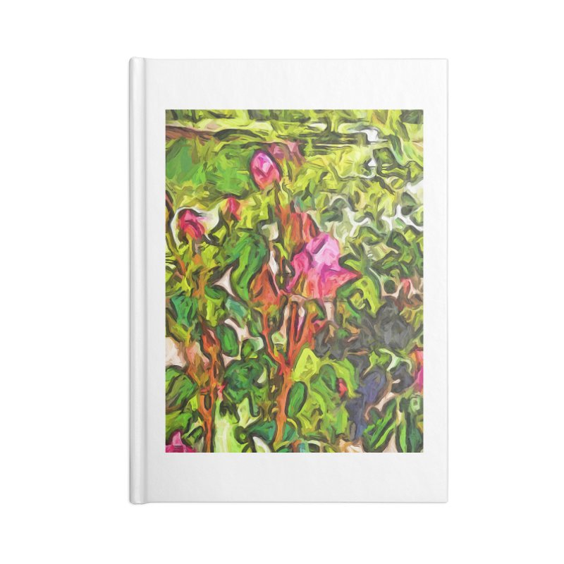 The Pink Rosebud in the Sea of Green Leaves Accessories Notebook by jackievano's Artist Shop