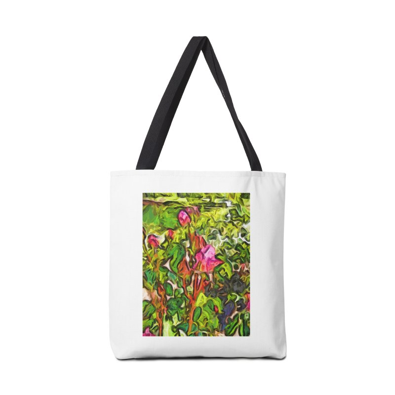 The Pink Rosebud in the Sea of Green Leaves Accessories Bag by jackievano's Artist Shop