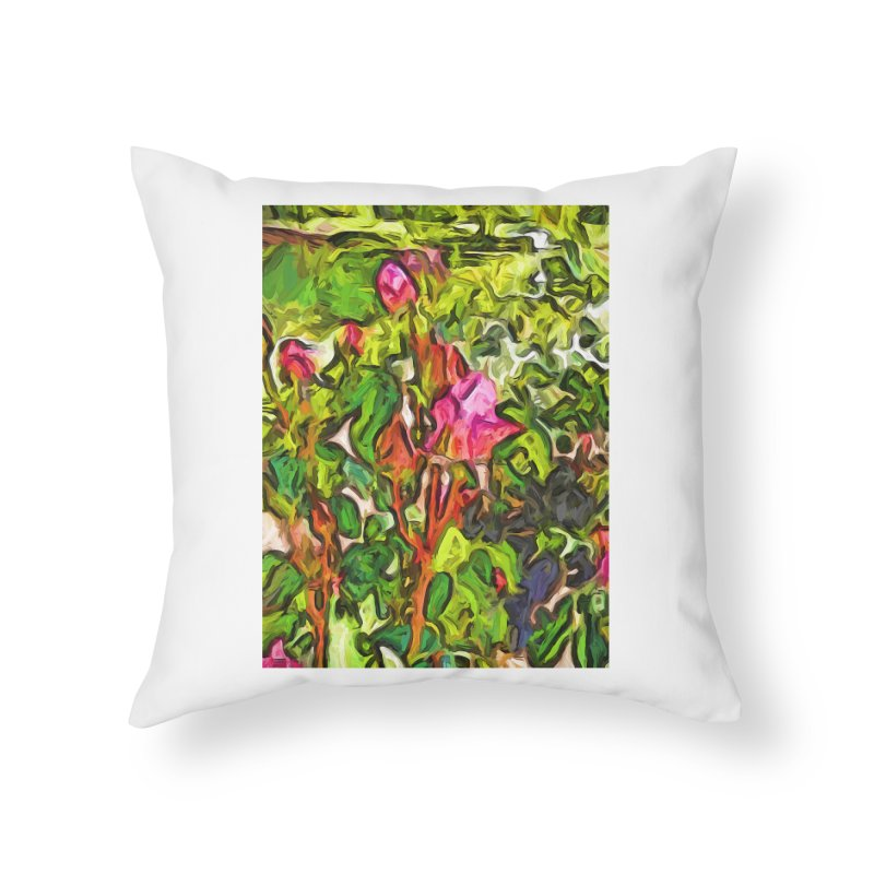 The Pink Rosebud in the Sea of Green Leaves Home Throw Pillow by jackievano's Artist Shop