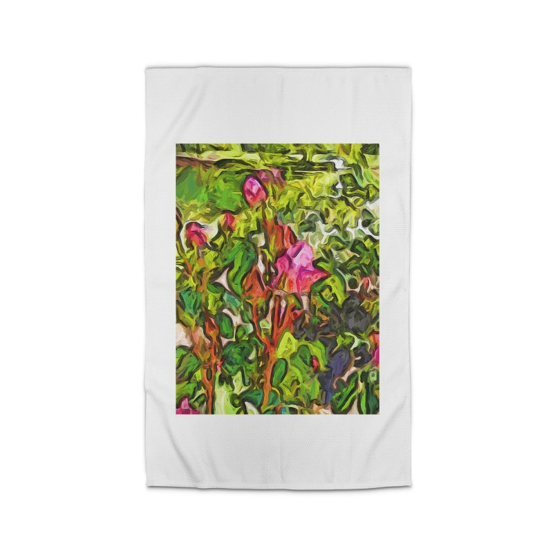 The Pink Rosebud in the Sea of Green Leaves Home Rug by jackievano's Artist Shop