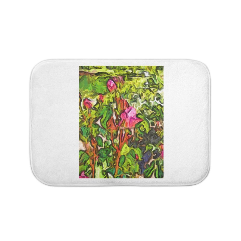 The Pink Rosebud in the Sea of Green Leaves Home Bath Mat by jackievano's Artist Shop