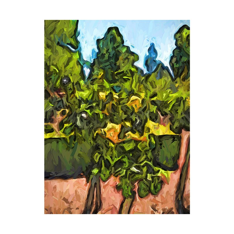 The Yellow Roses and the Green Trees by jackievano's Artist Shop