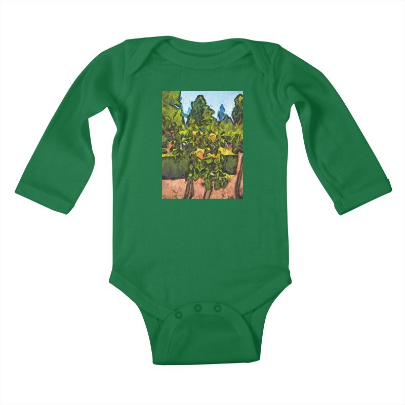 The Yellow Roses and the Green Trees Kids Baby Longsleeve Bodysuit by jackievano's Artist Shop