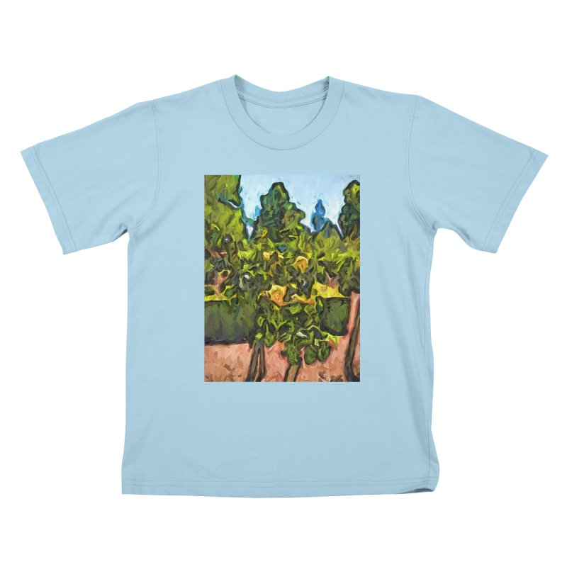The Yellow Roses and the Green Trees Kids T-Shirt by jackievano's Artist Shop