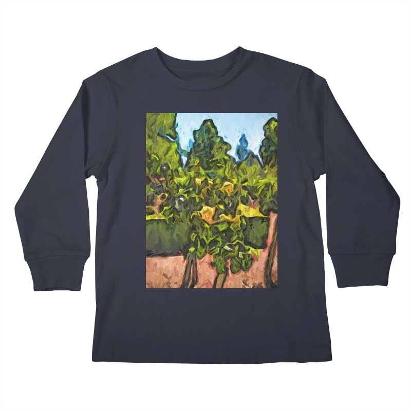 The Yellow Roses and the Green Trees Kids Longsleeve T-Shirt by jackievano's Artist Shop