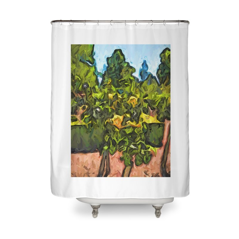 The Yellow Roses and the Green Trees Home Shower Curtain by jackievano's Artist Shop